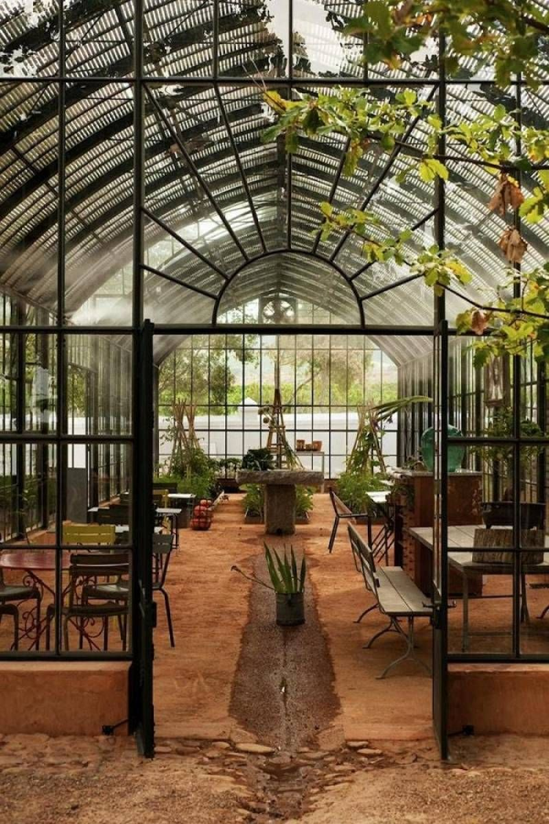 garden design, babylon greenhouse design with indoor furniture