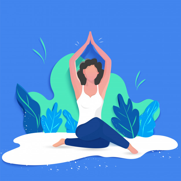 Creative poster or banner design with illustration of woman doing yoga Vector | Premium Download