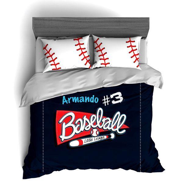 Personalized Baseball Bedding Set Custom Duvet Or Comforter Sets For Baseball Themed Bedroom Baseball Themed Bedroom Baseball Bed Bedroom Themes