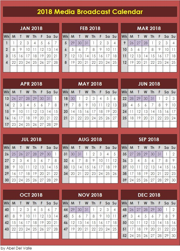 2018 Media Broadcast Calendar #MarCom #Media #Marketing - sample marketing calendar