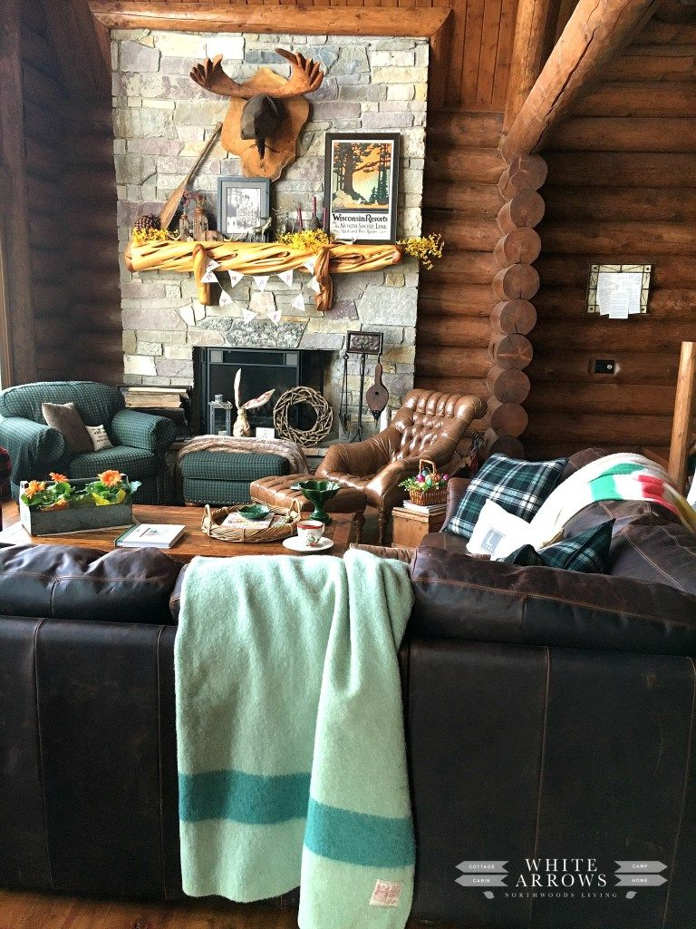 Spring Decor Easter Decor Great Room Log Cabin Cabin Style