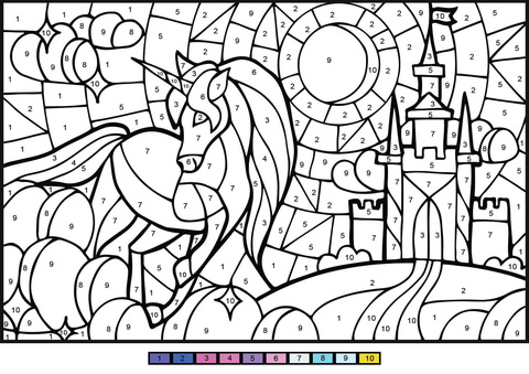 Unicorn Color By Number Coloring Page Color By Number Printable Online Coloring Pages Unicorn Coloring Pages