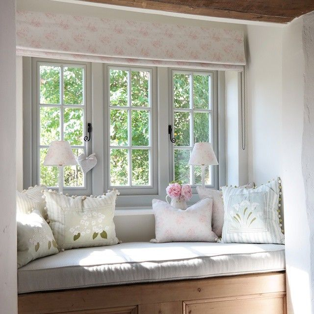Window seat dressed with peony sage susie watson and for Bay window seat cost uk