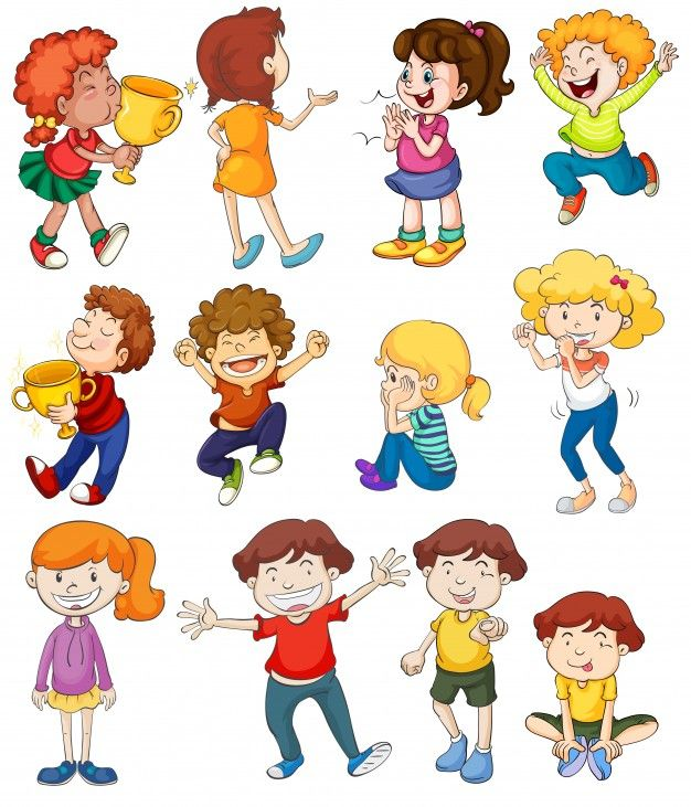 Illustration of kids in winning and cheering poses Free ...
