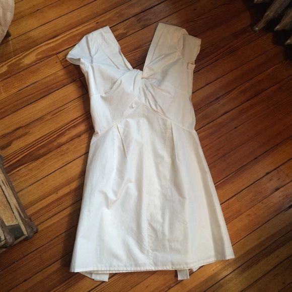 White Silk Taffeta Faille Bow Back Jumpsuit With: J. Crew Cotton Silk Taffeta Bow-back Dress