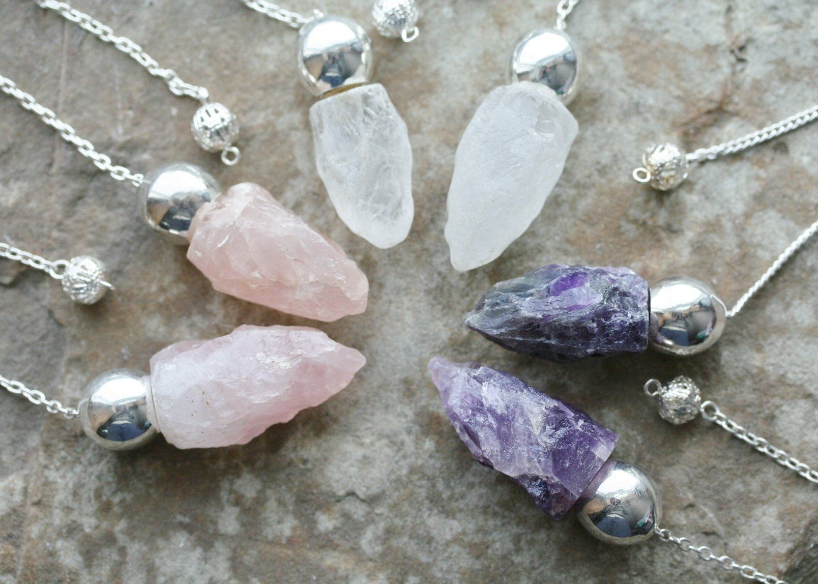 Healing Crystals India 3 Piece Chakra Gift Set w//Reiki Healing Dowsing Crystal Pendulum Package Includes Amethyst Rose Quartz and Clear Quartz
