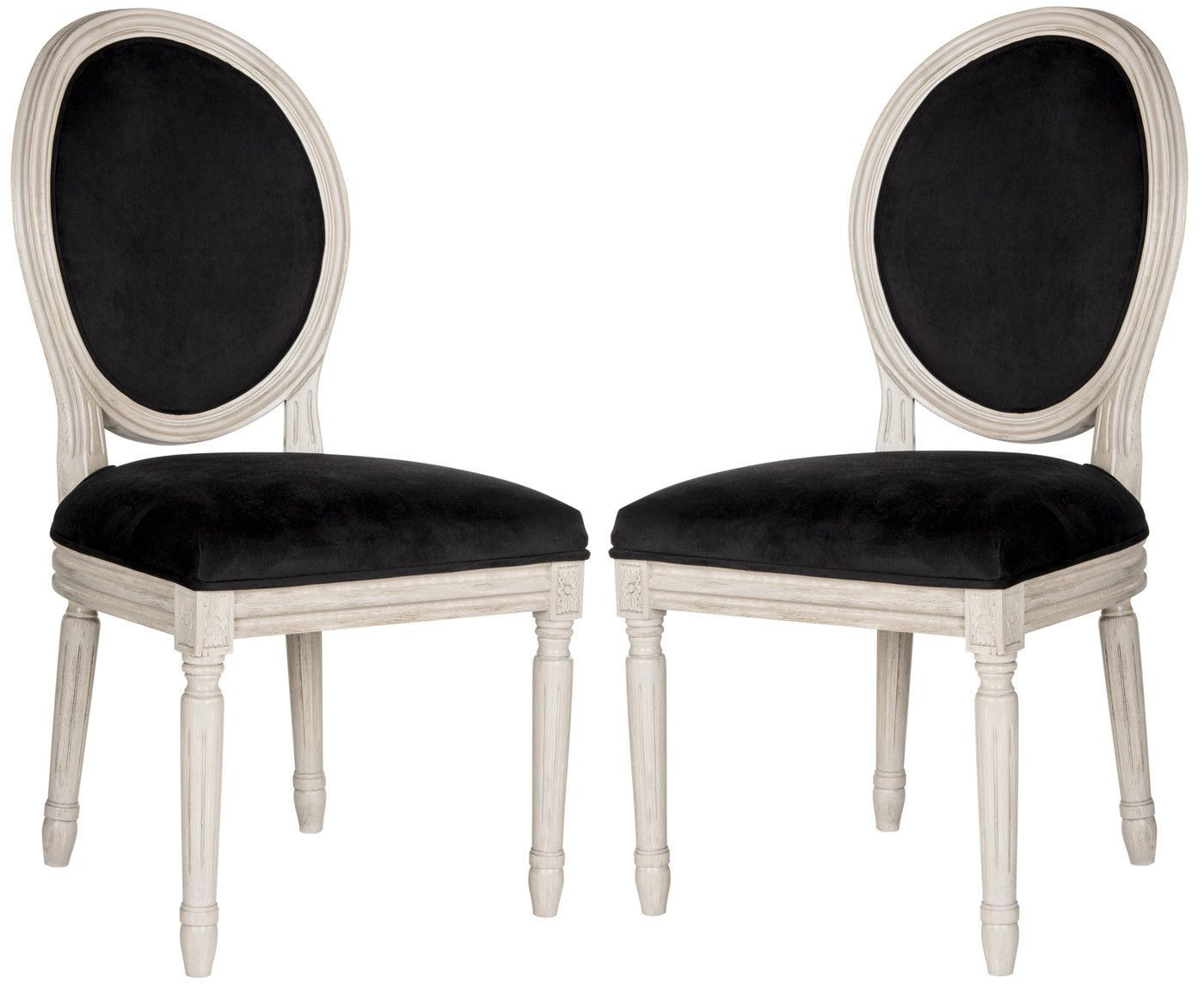Holloway Oval Side Chair Black Velvet (set Of 2)