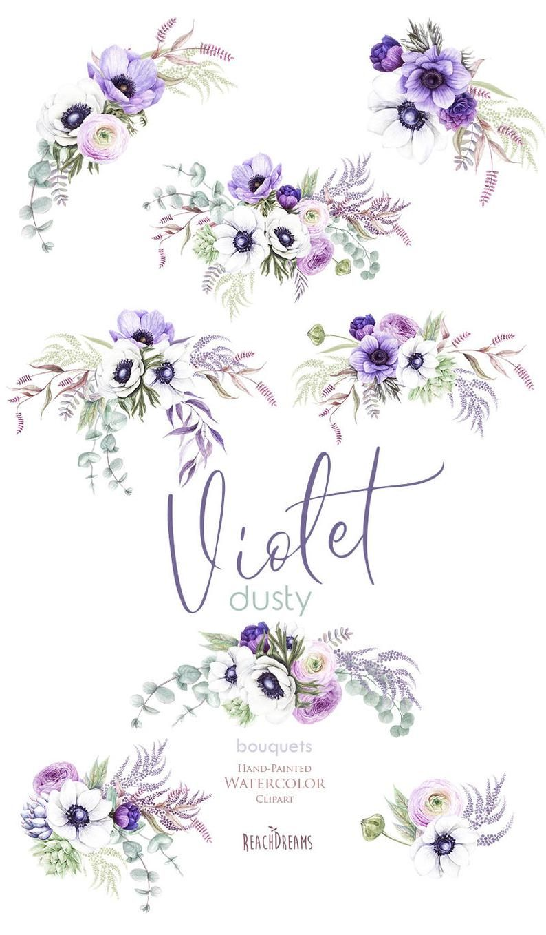 Wedding Watercolor Bouquets Dasty Violet Anemone Flowers