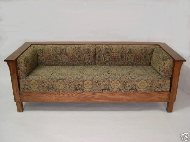 Stickley prairie style sofa arts crafts style for Arts and crafts daybed