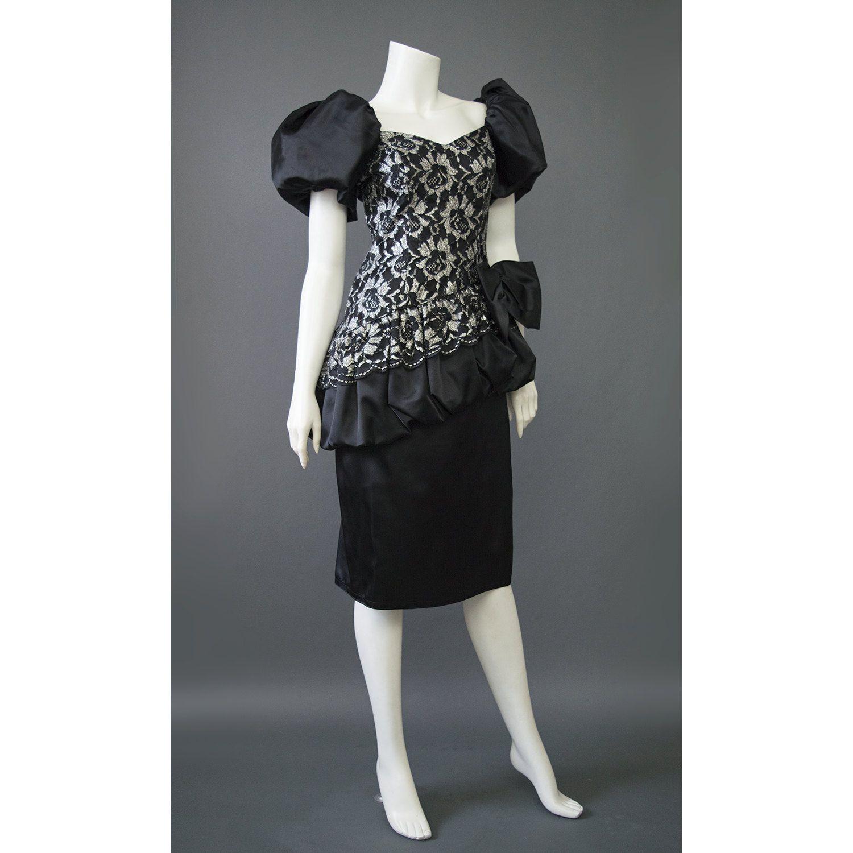 80s Cocktail Dress, Silver + Black Satin & Lace Bubble Dress, Puff ...