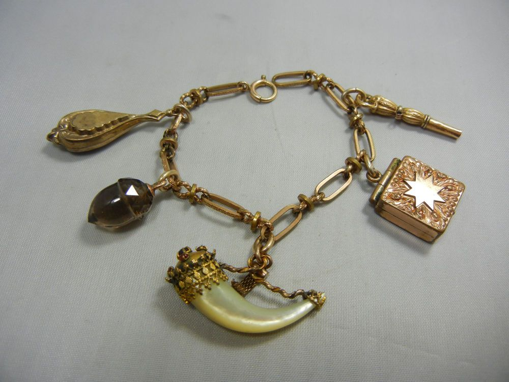 VICTORIAN GOLD MOTHER OF PEARL CLAW JEWELED LOCKET WATCH KEY FOB