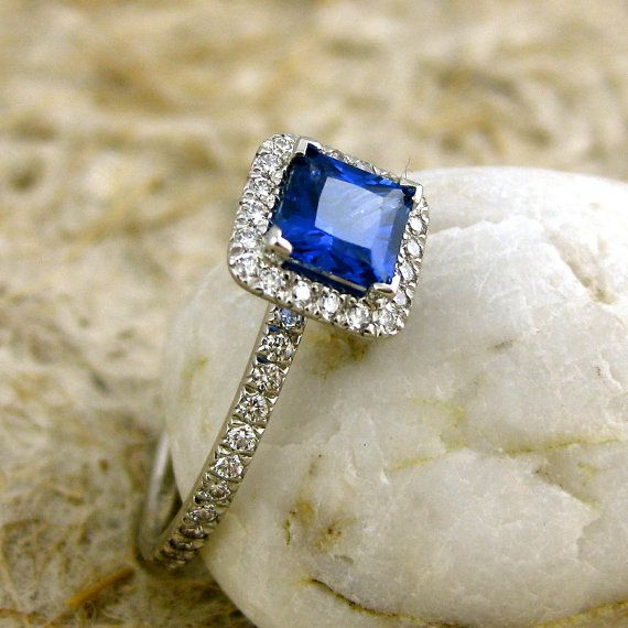 Princess Cut Royal Blue Sapphire Engagement Ring in Platinum with