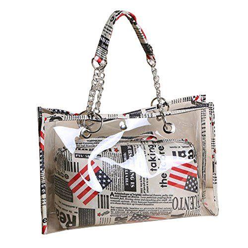 Top Shop Womens Chain Handle Tote Transparent Beach Handbag Shoulder Bags Flag Satchels ** Read more @ http://www.amazon.com/gp/product/B018AQN1NI/?tag=clothing8888-20&pcd=040816204645