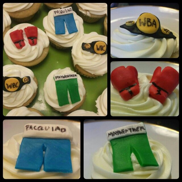 Boxing themed cupcake toppers Boxing gloves shorts and title belt
