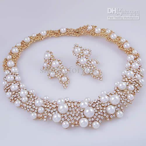 Whole Crystal Pearl Bridal Jewelry Set Necklace Earrings 18k Gp Zinc Alloy Nj 244 Clic