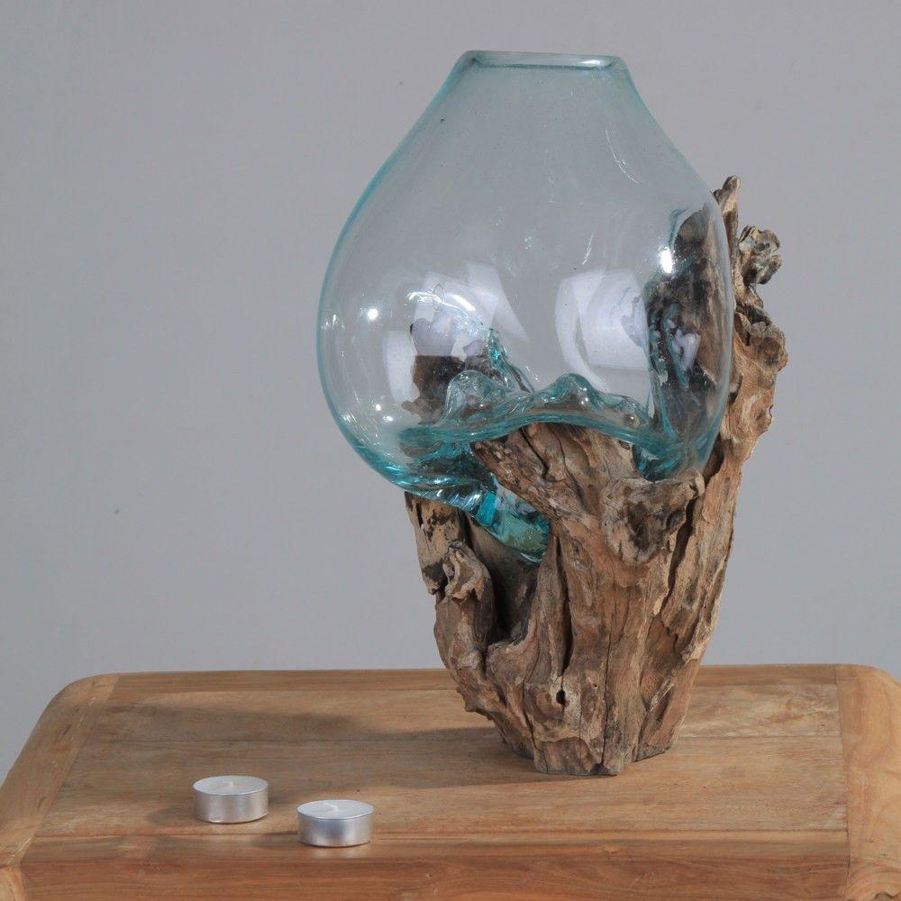 wurzel mit glas vase l 30 40 cm glas auf teakholz. Black Bedroom Furniture Sets. Home Design Ideas