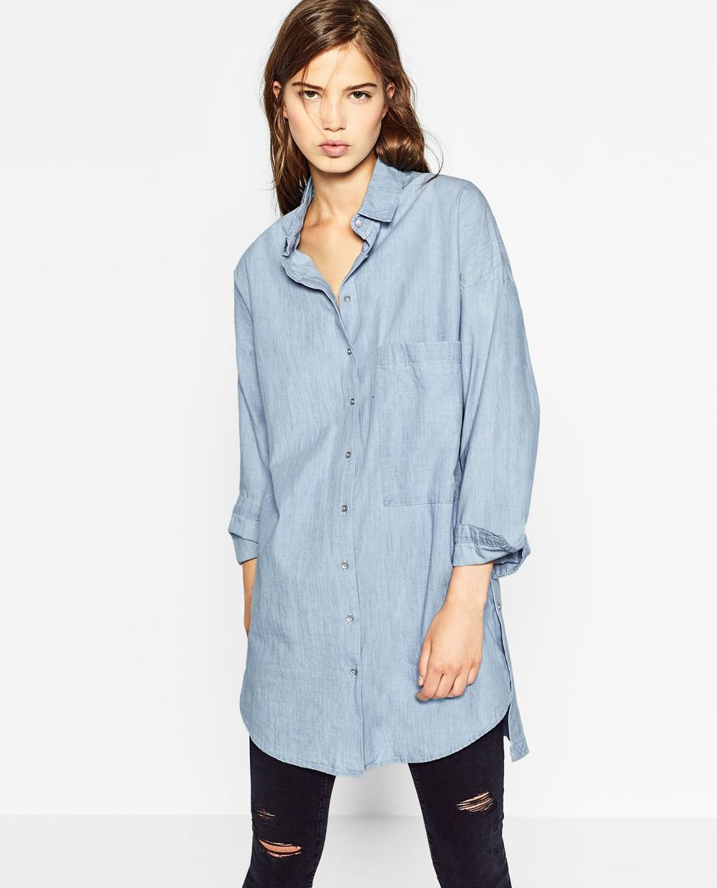 zara femme chemise en jean avec broderie au dos chemise broderie pinterest zara femme. Black Bedroom Furniture Sets. Home Design Ideas