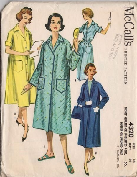 Vintage 1950s McCall's Sewing Pattern 4320 Women's Unlined Knee Length Coat or Robe Bust 36