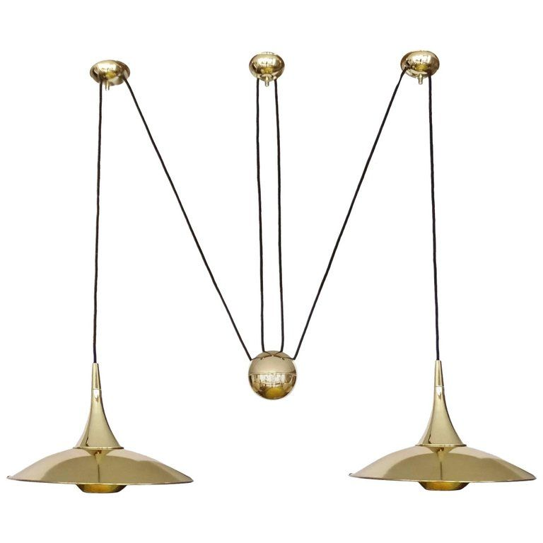 Very large pair brass counterweight chandelier pendant lamp schultz very large pair brass counterweight chandelier pendant lamp schultz era aloadofball Images