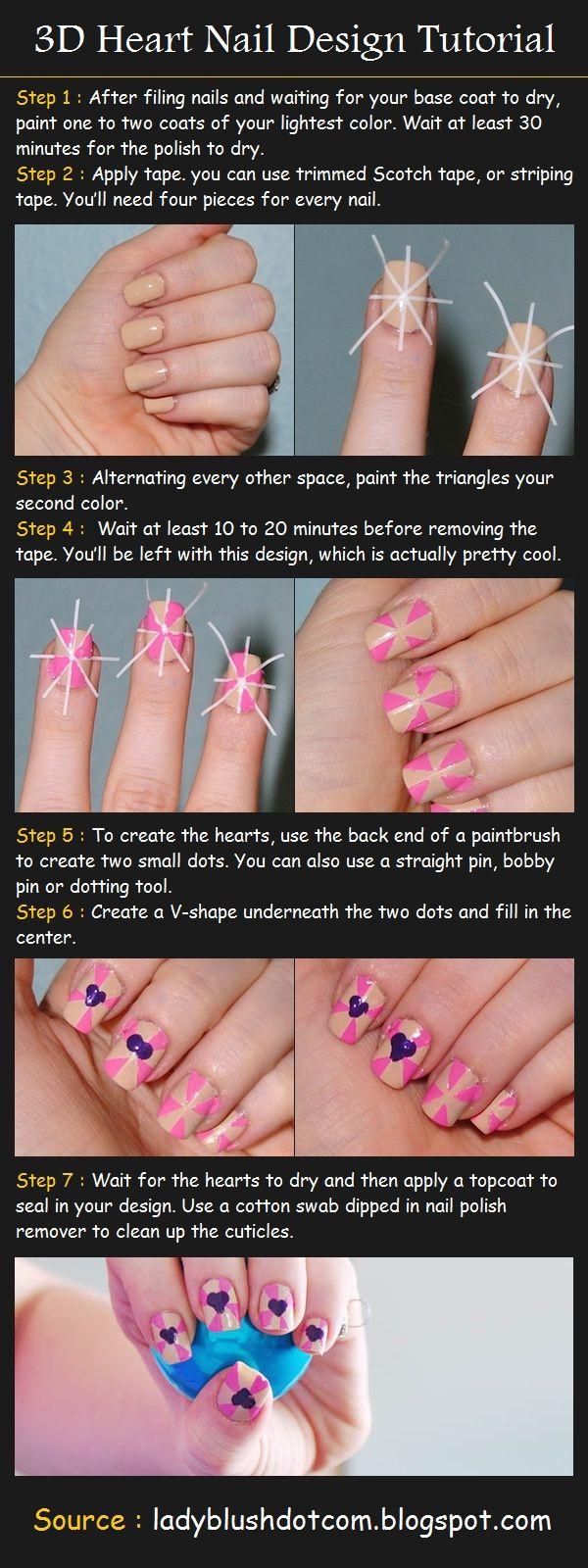 38 Interesting Nail Art Tutorials Heart Nail Designs Nail Art Diy Nail Designs Tutorial