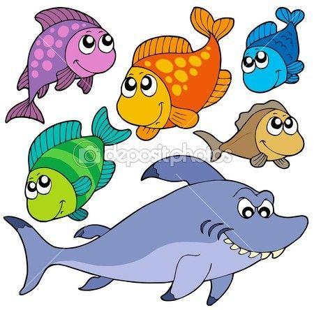 Vários desenhos animados coleção de peixes — Ilustração de Stock #2261190