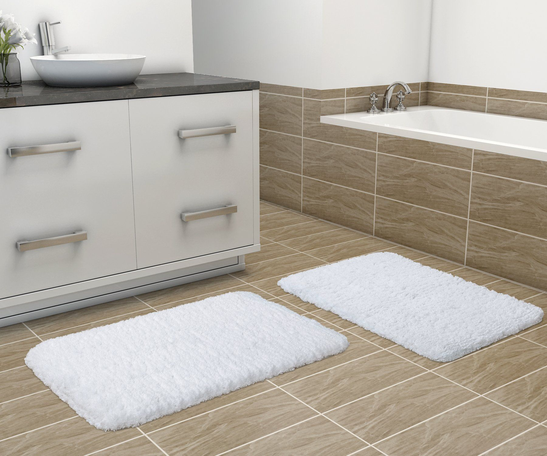 Lifewit 2 Pack 20 X 32 Soft Gy Bath Mat Set Non Slip Rubber Bathroom Rug Floor Mats Water Absorbent White