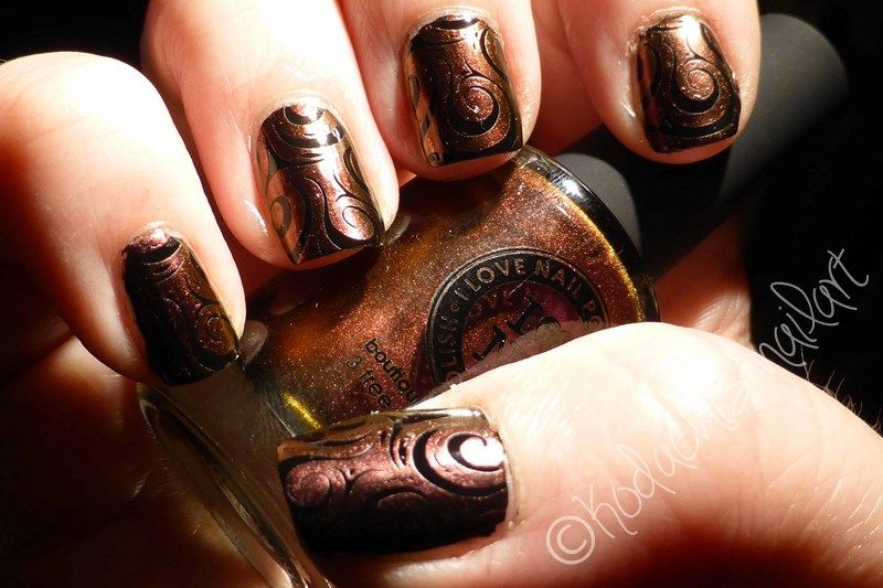 Undenied (ILNP) stamping over Black - Kodachis Nailart