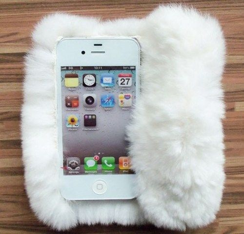 premium selection 37e2b 9fd23 Chic Synthetic High Grade Rabbit Fur iPhone 5 Case w/Front Cover ...