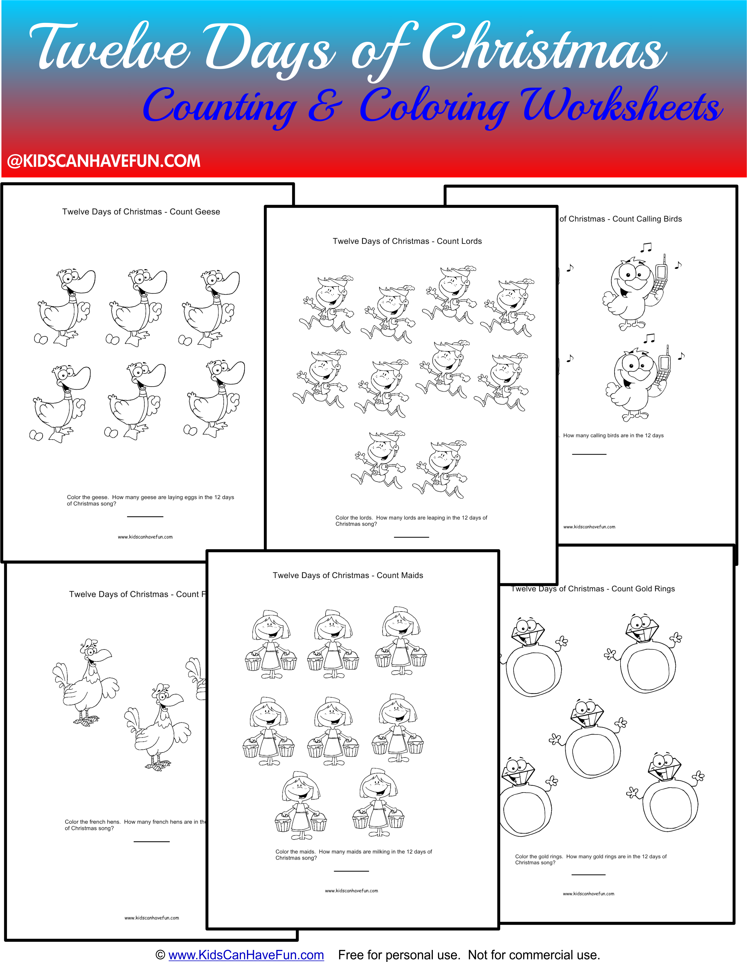 Twelve Days Of Christmas Counting Amp Coloring Worksheets