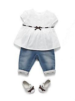 9158fd624cc Gucci - Infant's Signature Web Ribbon Shirt Baby Girl Items, My Baby Girl,  Kids