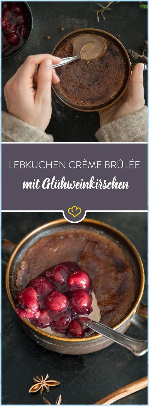 Schokoladige LebkuchenCrèmebrûlée mit Glühweinkirsche dessert for christmas