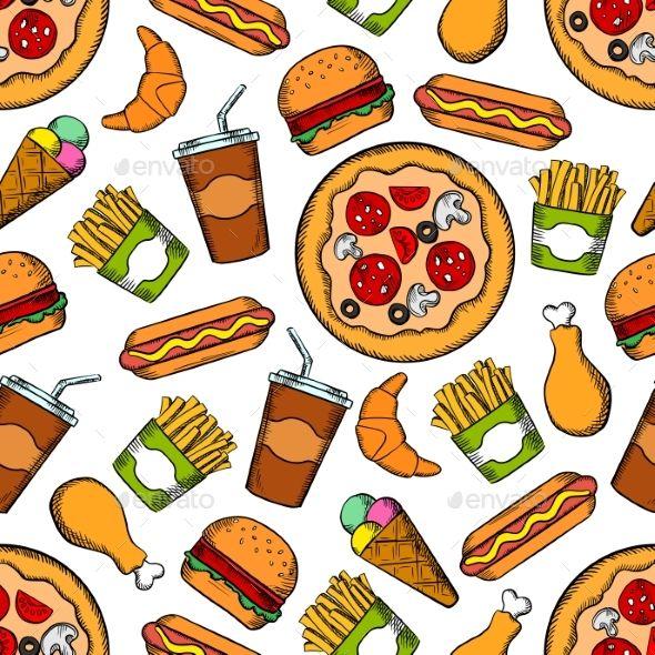 Fast Food Snacks Drinks Seamless Background Burguer Fundos
