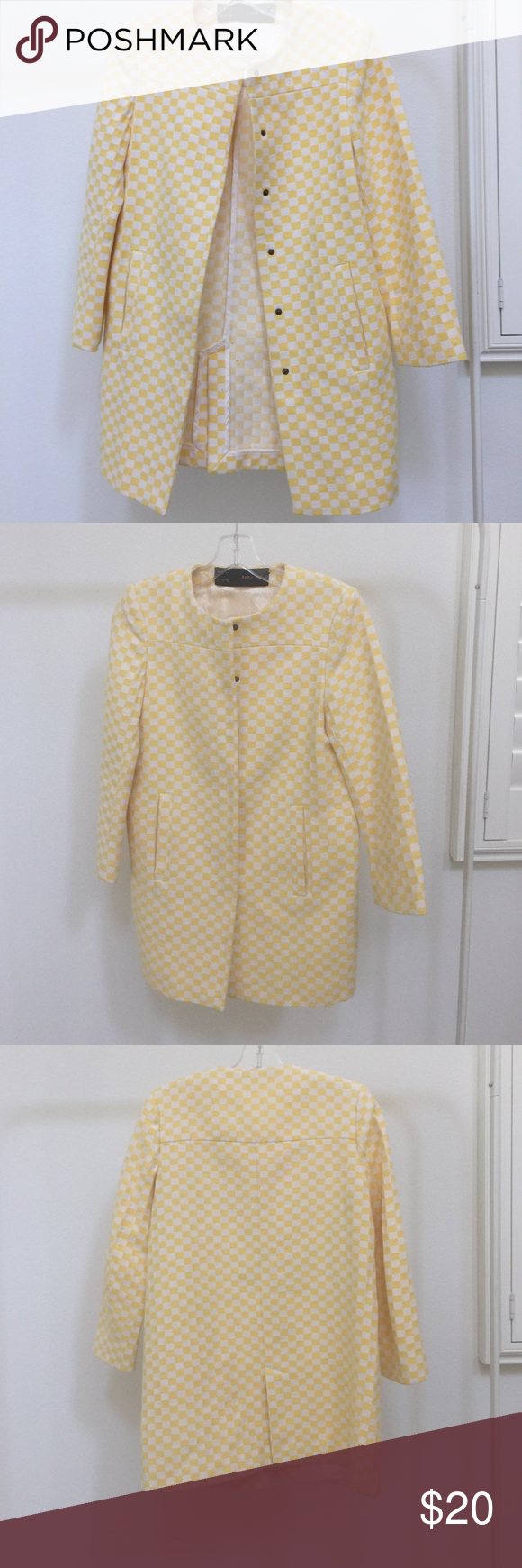 Zara coat White and yellow checkerboard print coat by Zara. Round neck.  With buttons and pockets. Structured material. Easy wash and iron. Zara Jackets & Coats Blazers