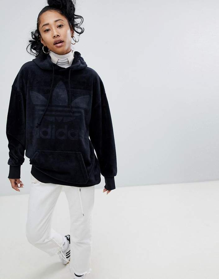 9ca4bef91d48 adidas Originals Velour Oversized Hoodie In Black  adidas  adidasoriginals