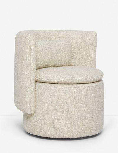 Hazel Swivel Chair Natural Boucle, Modern Swivel Bucket Chairs