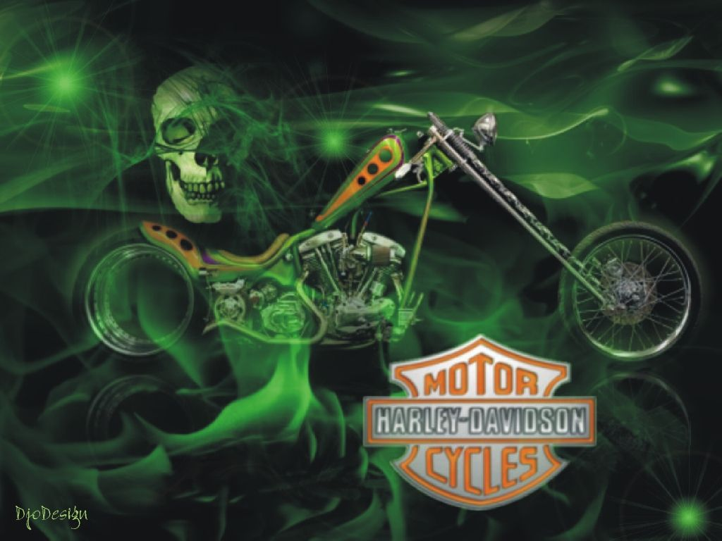 Harley Davidson Wallpapers And Screensavers Harley Davidson Green Skull Wallpa Harley Davidson Posters Harley Davidson Wallpaper Harley Davidson Painting
