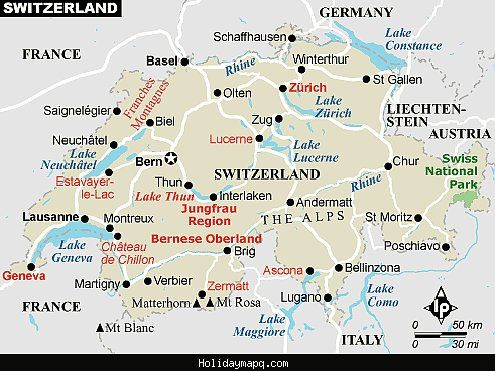 cool Switzerland Map Tourist Attractions Holidaymapq Pinterest