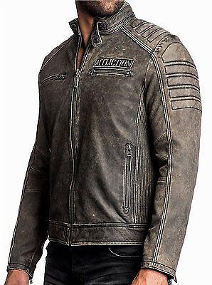 c45eb05b255 Affliction-Cabeza De Hierro-Para hombre de cuero BIKER JACKET Moto-Vintage  Negro Lavado
