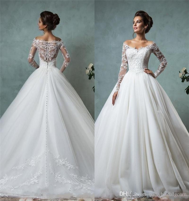 Amelia Sposa 2016 Cheap Lace Wedding Dresses Long Sleeve Fall Winter ...