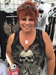 Tank top, motorcycle plus size skull with lace.