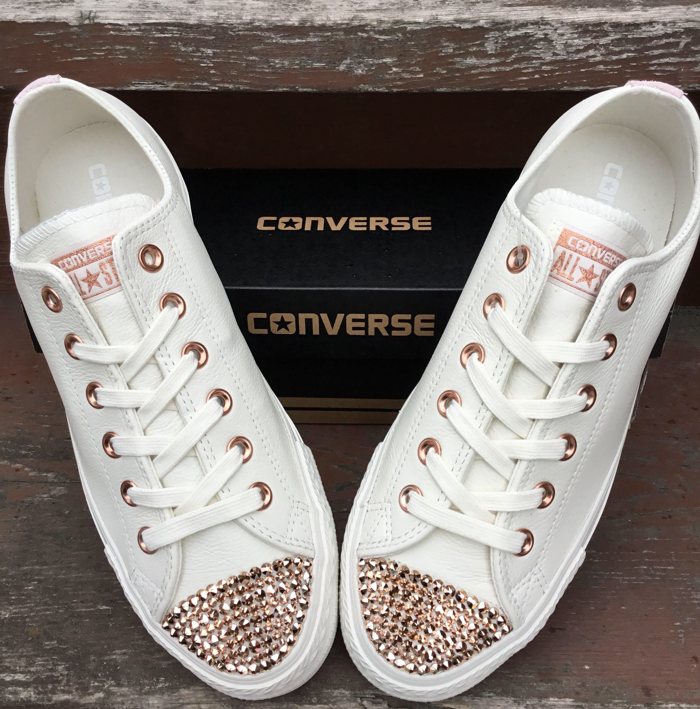 96c56248096d Ivory Converse Leather Low Top Cream Blush Pink Rose Gold Wedding Chuck  Taylor w  Swarovski