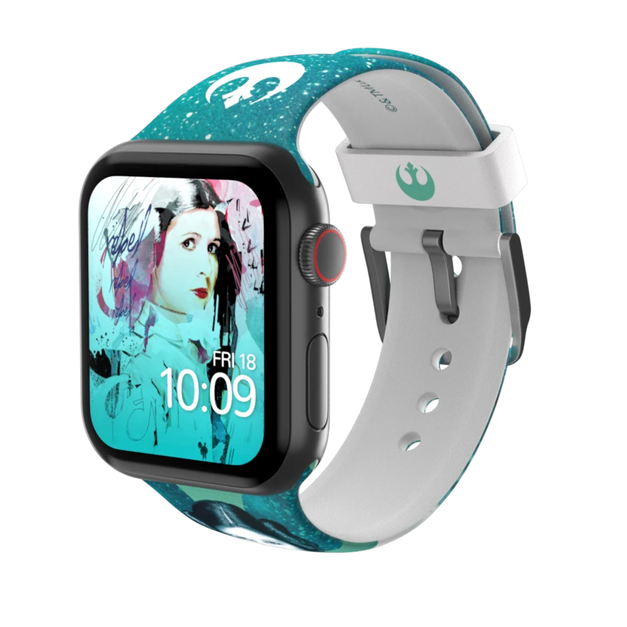 Princess Leia Inspired Artwork On Your Apple Watch Strap Produced On High Grade Printed Silicone With A Stain Apple Watch Strap Apple Watch Models Apple Watch