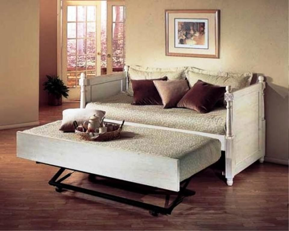 alligator monterey french daybed with popup trundle finish distressed white
