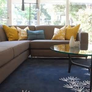 Yellow And Blue Cushion With Grey Sofa Works Well As The Grey Sofa Has A Blue Base Colour Som Yellow Living Room Living Room Grey Grey And Yellow Living Room