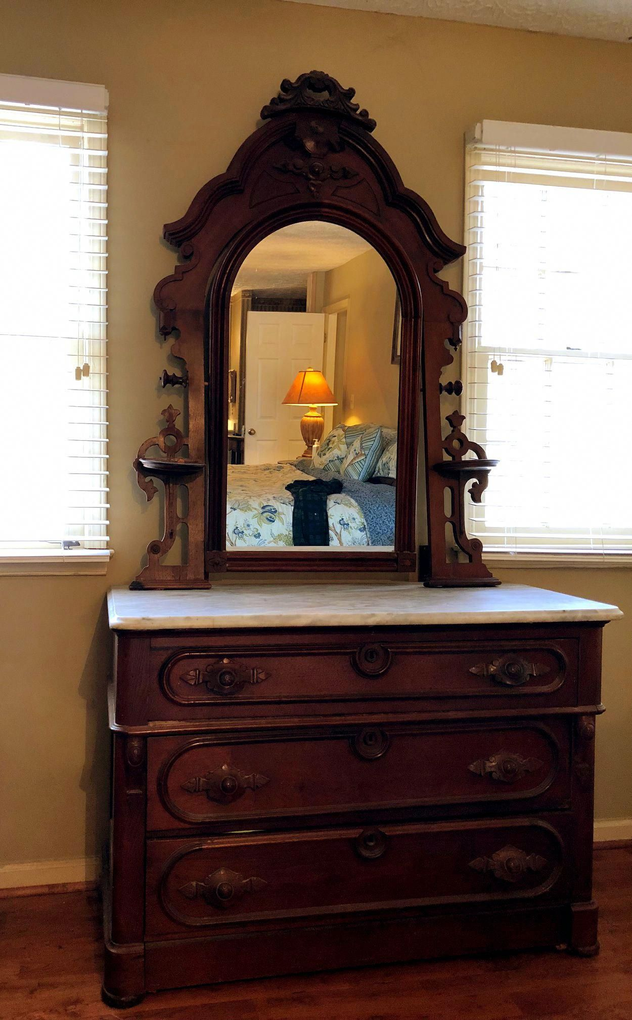 Antique dresser with mirror and marble buyinglist