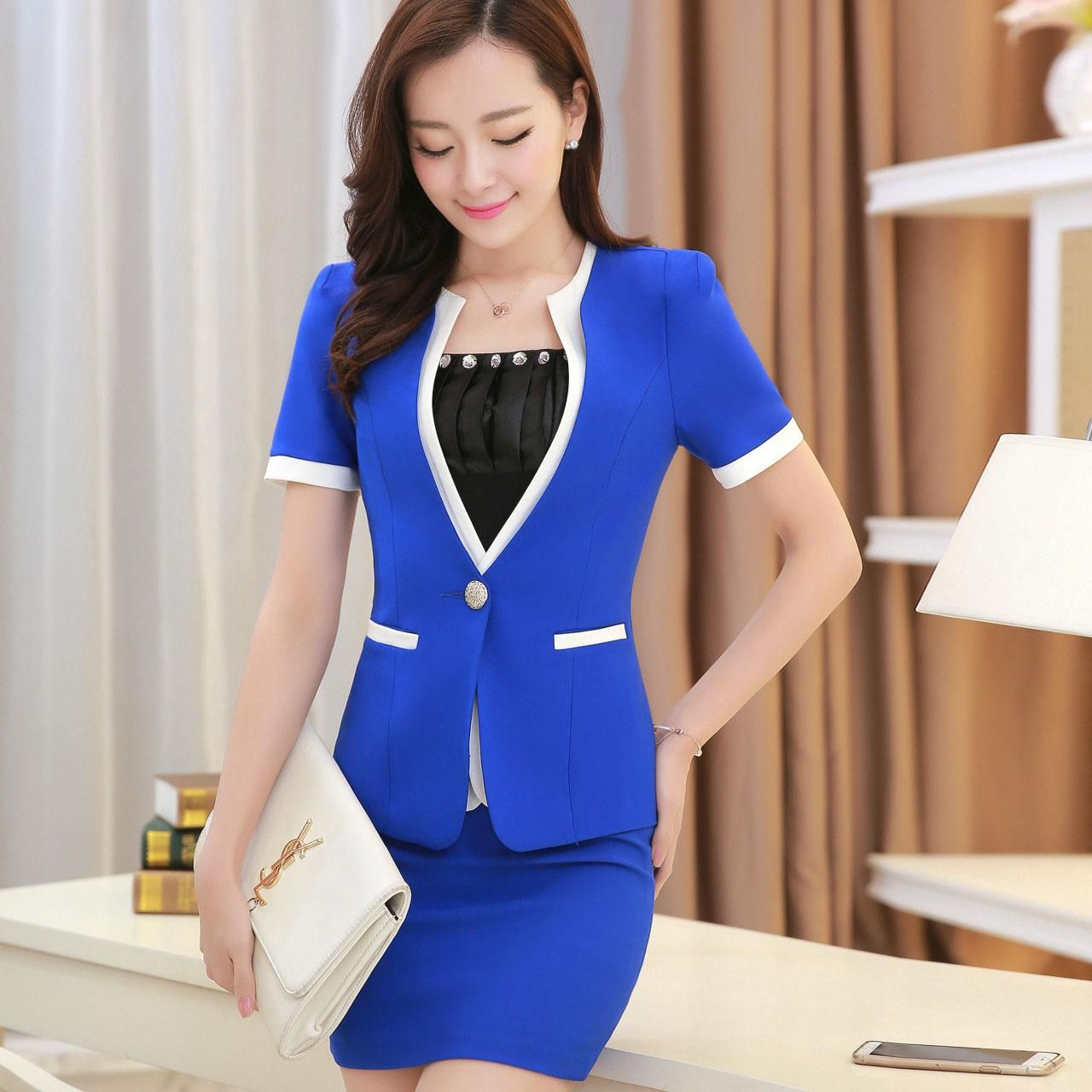 Hot Summer Style Women Business Suits Formal Office Work 2017 Plus Size Xl Short