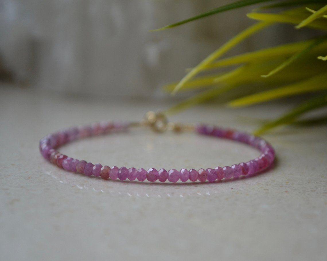 code promo 34074 d6a17 Dainty Ruby Bracelet bracelet femme July Birthstone | Etsy ...