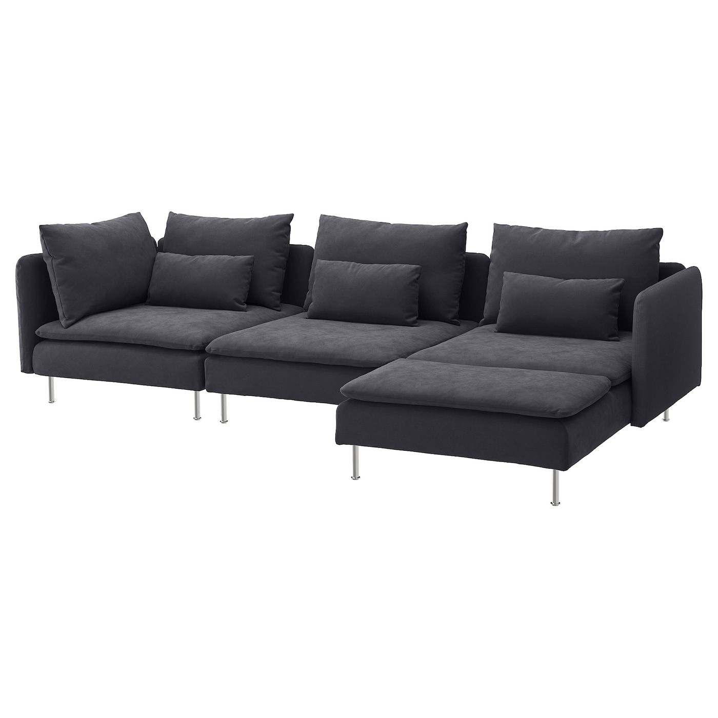 Soderhamn Sectional 4 Seat With Chaise Samsta Dark Gray In 2020 Grey Sectional Sofa Grey Sectional Ikea Sofa