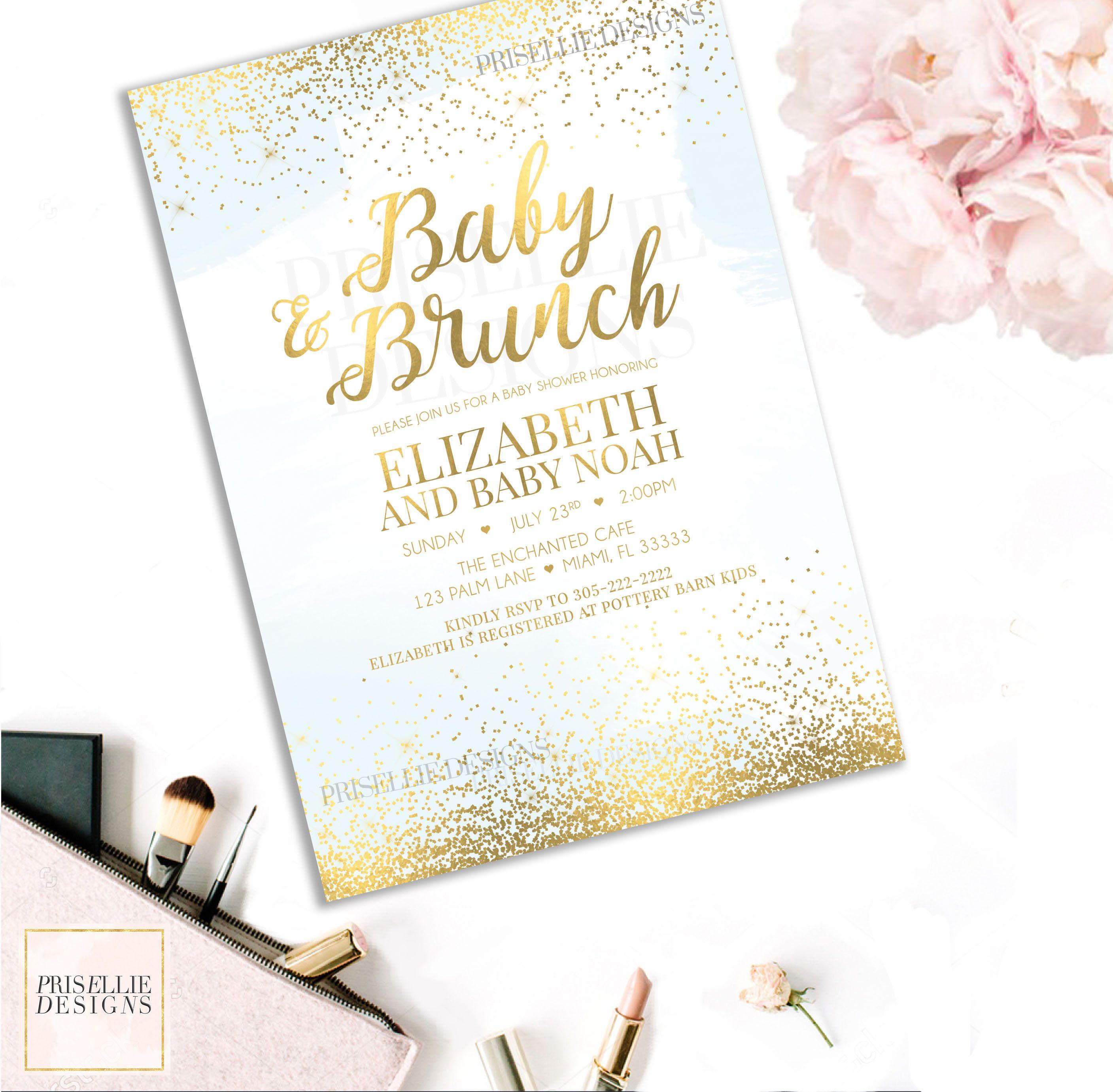 Boy Baby Shower Invitation, Baby & Brunch Baby Shower Invitation ...