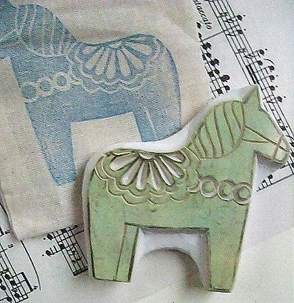 dala horse stamp | woodland animal stamp | scandinavian stamp | hand carved rubber stamp for diy christmas, card making, block printing
